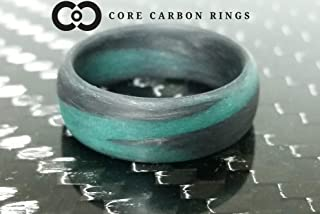 Men's or Women's Carbon Fiber Teal Marbled Glow Ring - Handcrafted - Black and Teal Glowing Band - Custom Band widths