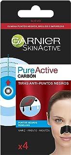 Garnier Skin Active - Pure Active Tiras de Carbón Anti Puntos Negros Espinillas y Poros de la Nariz 4 Tiras