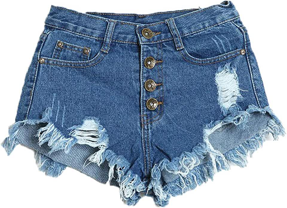 Women's Frayed Raw Hem Ripped Distressed Denim Shorts Casual Hole Jeans Shorts