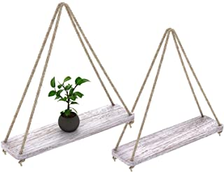 "Rustic Set of 2 Wooden Floating Shelves with String – Farmhouse Hanging Shelves for Living Room Wall – Small Kitchen Shelves with Rope – 17""x5.2"" – Distressed, Rustic White Color"