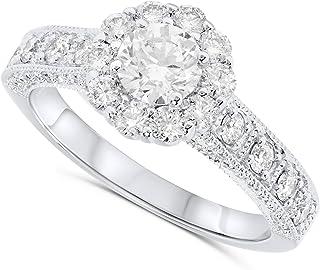 IGI Certified 1.50 Carat 14k White Gold Natural Diamond Halo Engagement Ring For Women