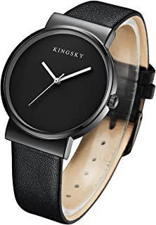 KINGSKY Women's Super Simple Design Multi-Color Leather Strap Japan Analog Quartz Movement Wrist Watches