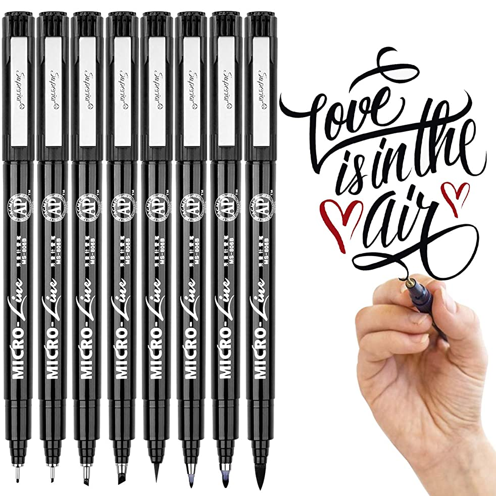 Hand Lettering Pens, Black Calligraphy Brush Pen, Markers Set for Art Sketching, Bullet Journaling, Beginners Writing Guide, Signature, Technical Drawing, Water Color Illustrations(8 Size)
