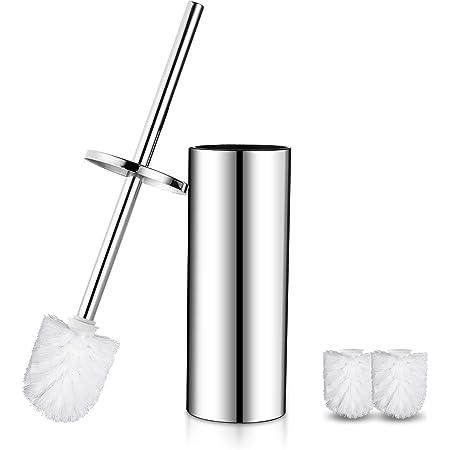 DUFU Brosse WC avec Support en acier inoxydable Brosse de Toilettes WC Balayette pour Salle de Bain Brosse de Cuvette résistant à la Rouille avec Petit déflecteur-Argenté