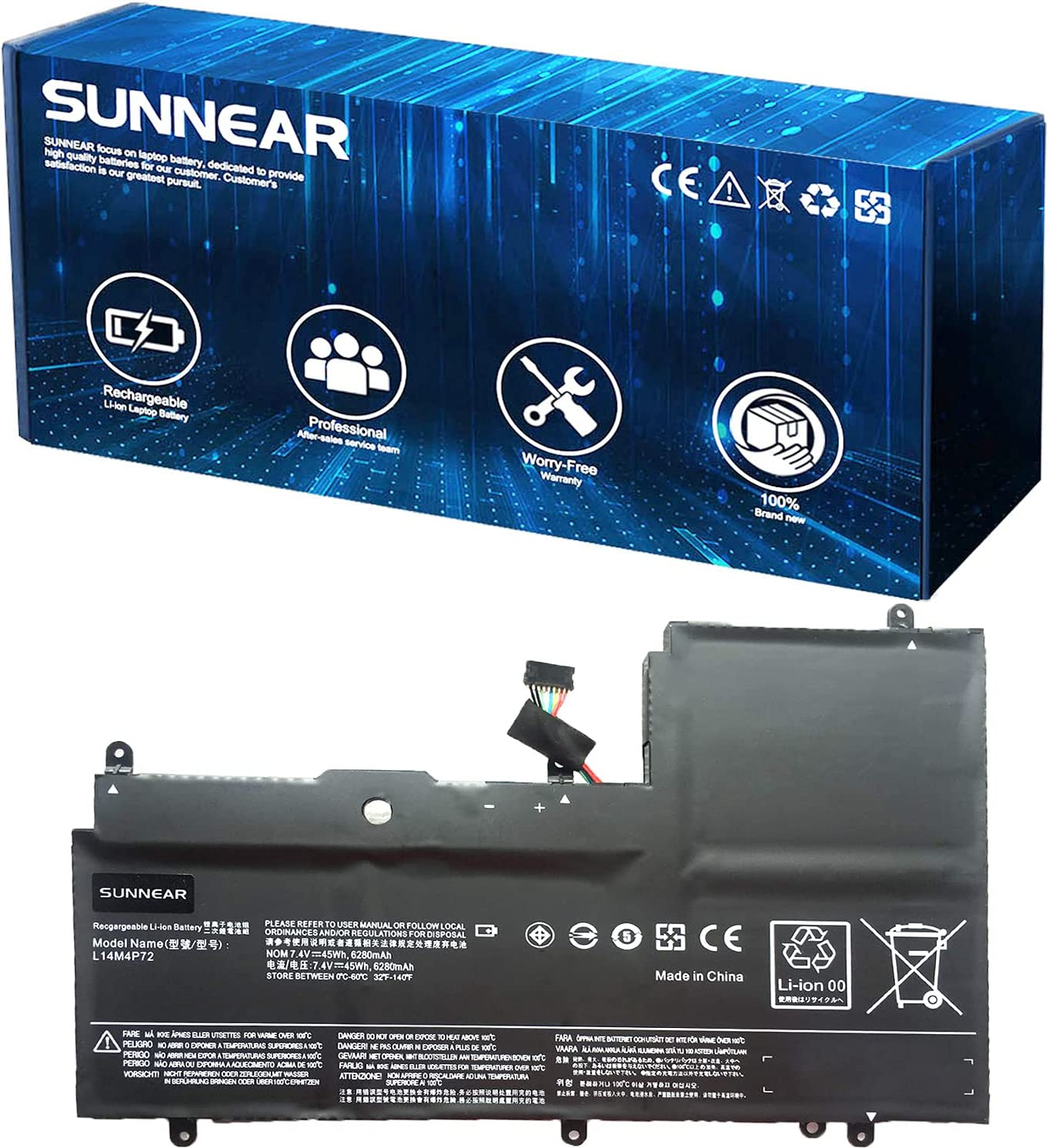 SUNNEAR L14M4P72 45Wh security Laptop LenovoY trust for Replacement Battery