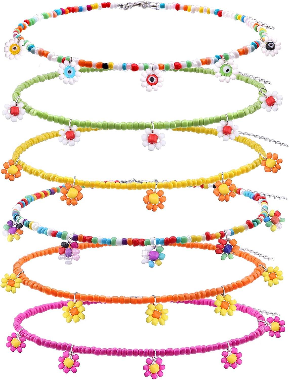GYSONG Beaded Choker Necklaces For Women Handmade Boho Flower Beaded Necklace Set Daisy Beaded Choker Set For Women Girls Colorful Adjustable Summer Beach Beaded Necklace Set