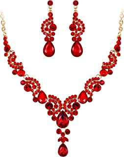 Austrian Crystal Bridal Floral Wave Teardrop Necklace Earrings Set
