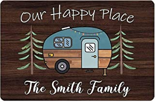 OKnown Personalized Camping Sign Our Happy Place Family Camper Wall Decor Travel Trailer RV Accessories for Outside Decora...