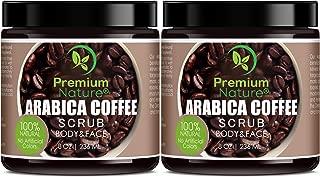 Exfoliating Arabica Coffee Body Scrub - Best Skin Exfoliator for Face Hand Lip & Body with Sea Salt & Shea Butter, Acne & Eczema Treatment, Exfoliate Moisturize, Stretch Mark Scar & Cellulite Remover