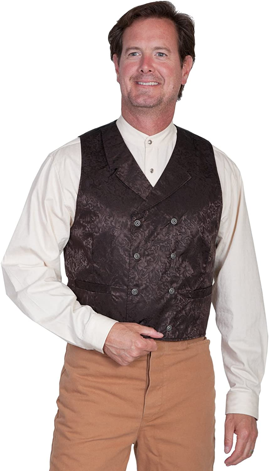 Scully Wahmaker Men's Wahmaker Floral Silk Double Breasted Vest Big and Tall Chocolate XXXX-Large