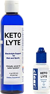 Keto Lyte Electrolyte Supplement Drops for Keto Flu, Leg Cramps   Clinically Proven   No Sugars   No Carbs   Keto Friendly   Made in USA   4oz-48 Servings