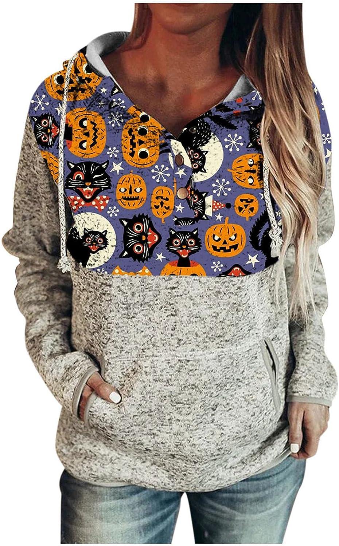 felwors Women's Lightweight Halloween Printed Hoodies Fall Sweaters Long Sleeve Loose Drawstring Pullover Sweatshirts
