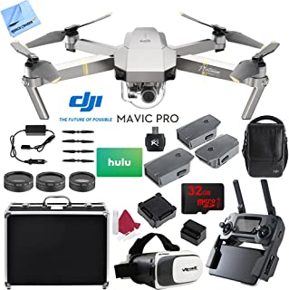 DJI Mavic Pro Platinum Quadcopter Drone with 4K Camera and Wi-Fi Fly More Combo Bundle with 32GB Memory Card, Hulu $25 Gift Card and Accessories (6 Items)