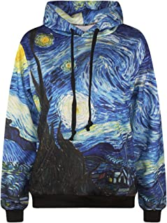 ColorFino Starry Night Digital Print Hip Hop Pullover Hoodies Plus Size Sweatshirt