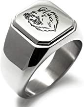 Stainless Steel Bear Square Flat Top Biker Style Polished Ring