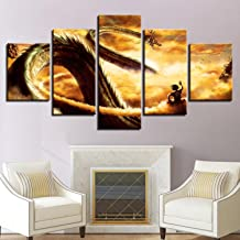 Canvas HD Prints Pictures Modern Wall Art Framework 5 Pieces Cartoon Dragon Ball Z Paintings Goku Ride Shenron Poster Home Decor