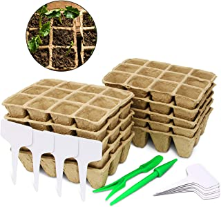Coolrunner Seed Starter Trays | Germination Peat Pots Kit | Seedling Pots for Plants | Bonus 10 Plant Markers, 10 Pack - 120 Cells
