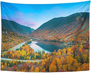 Emvency Wall Tapestry Northeast Fall Colours in Franconia Notch State Park White Mountain National Forest New Hampshire USA Foliage Hiking Decor Wall Hanging Picnic Bedsheet Blanket 80x60 Inches