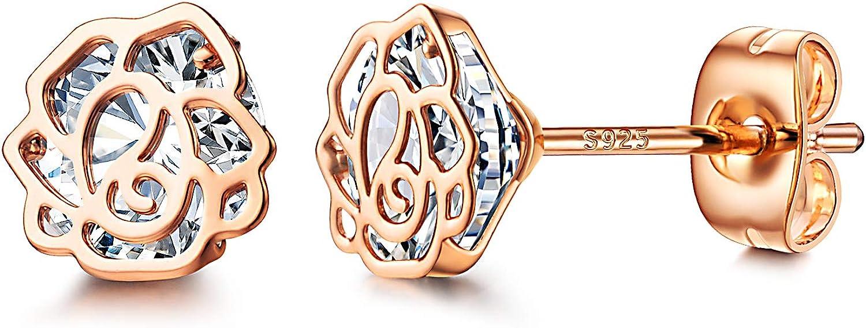 NOKMIT Rose Flower New product 25% OFF type Stud Earrings for 925 S 14K Women Plated Gold