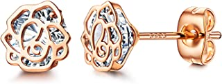 Rose Flower Stud Earrings 18K Gold Plated Cubic Zirconia Earrings Sterling Silver Post Studs Hypoallergenic Stud Earrings for Women,Girl