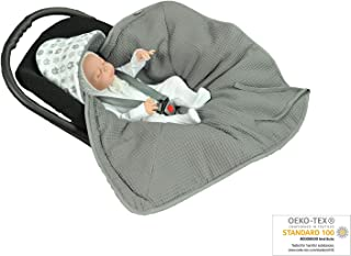MoMika Swaddling Blanket | Bunting Bag I Universal Fit for Car Seat | Stroller | Buggy or Baby Bed| 100% Cotton (Graphite-Elephant)
