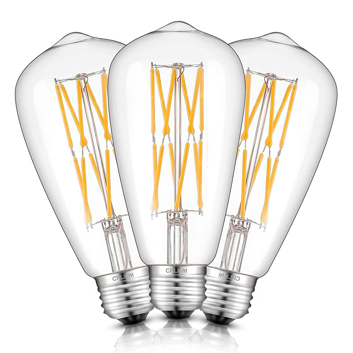 CRLight 12W Dimmable LED Edison Bulb 1200LM 120W Equivalent 2700K Warm White, E26 Medium Base Antique ST64 Clear Glass LED Double-layer Spiral Filament Bulbs, Smooth Dimming Version, 3 Pack