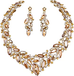 Women's Elegant Austrian Crystal Necklace and Earrings Jewelry Set for Wedding Dress