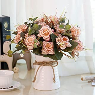 YILIYAJIA Artificial Rose Bouquets with Ceramics Vase Fake Silk Rose Flowers Decoration for Table Home Office Wedding (Pink)
