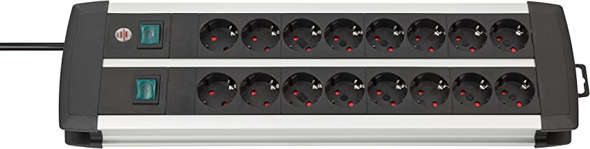 Brennenstuhl Premium-Alu-Line, 16-voudige stekkerdoos - verdeeldoos van hoogwaardig aluminium (stekkerblok met 2 schakelaa...
