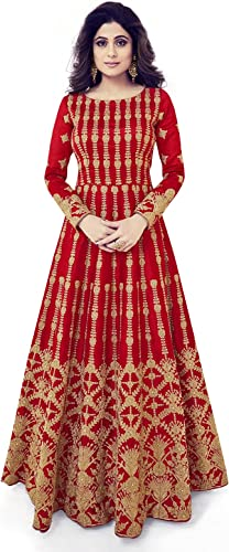 Women s Anarkali Semi Stitched Floor Length Gown Free Size