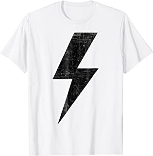 Retro Distressed Black Lightning Bolt T Shirt!