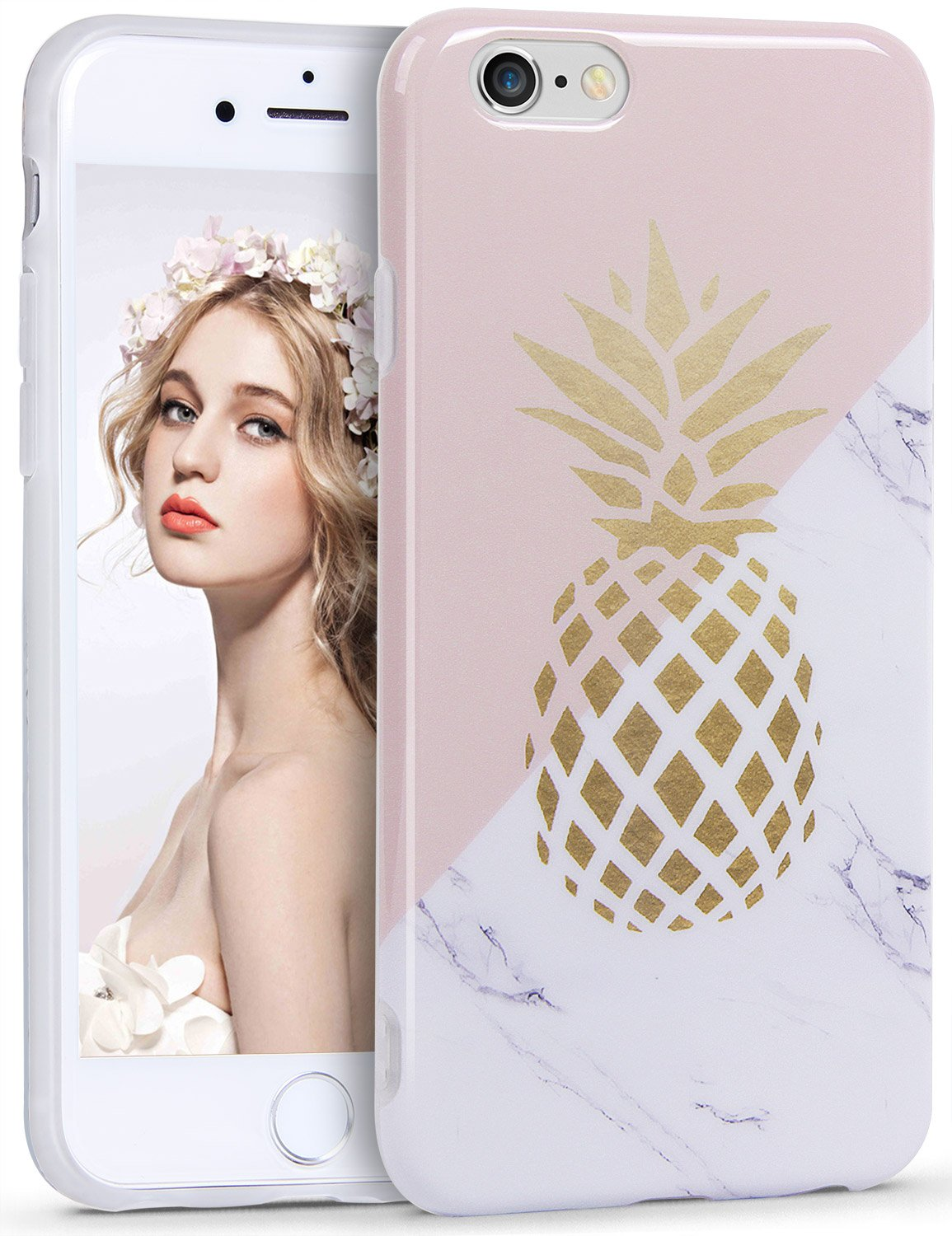 cute iphone 6s cases amazon co ukiphone 6s case, imikoko™ iphone 6 case pineapple print clear crystal bumper pink cute