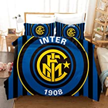 F.C Internazionale Milano Bedding Duvet Cover Set Duvet Cover Plus 2 Pillow Covers Luxury Soft Quality Wrinkle Fade and Stain Resistant(Double)