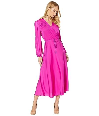 Milly Gina Long Sleeve Midi Dress (Magenta) Women