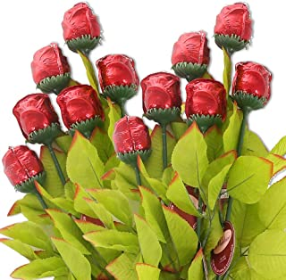 Madelaine Chocolates, Exquisite, Intricate, Highly Detailed 3/4 OZ Premium Milk Chocolate Roses, Nestled In Long Stems With Lush, Silk Leaves - Semi-solid - (12 Pack)