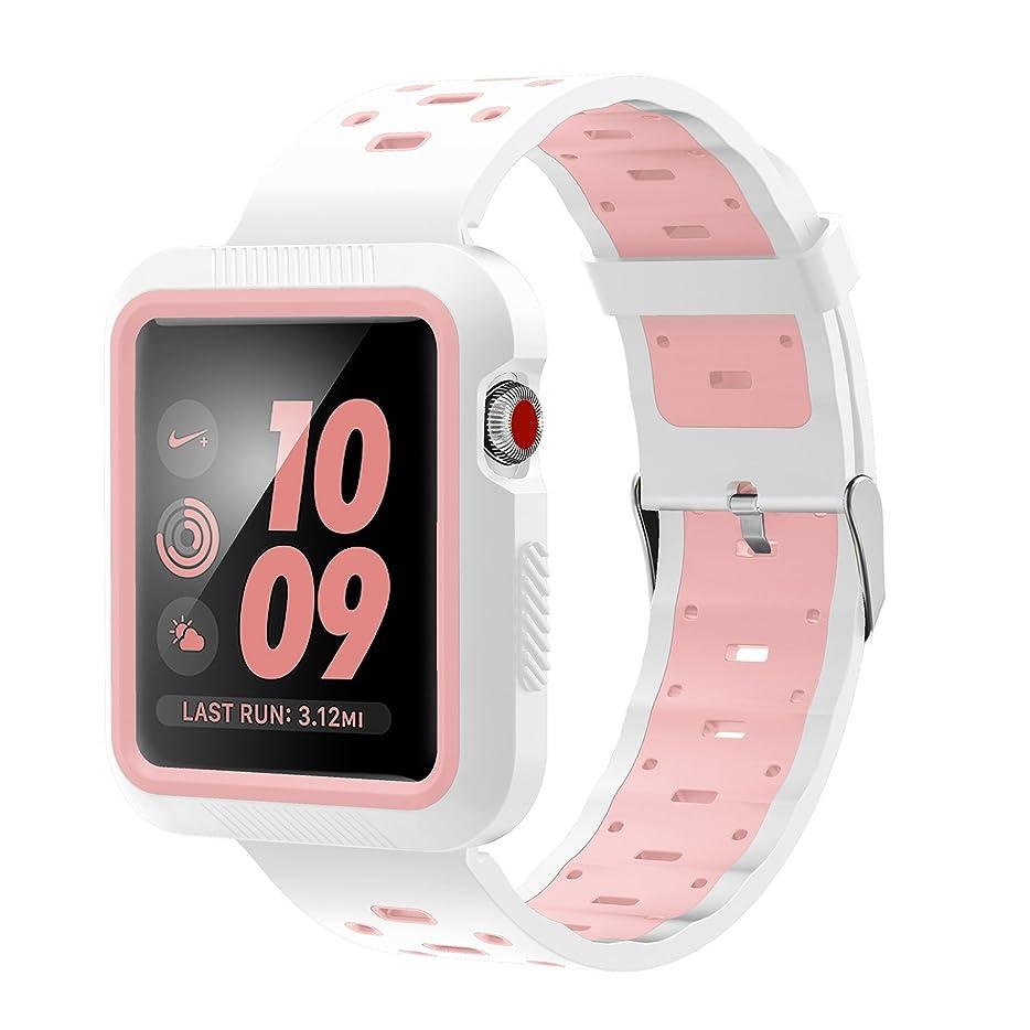 鼻悪化させる極めて重要なVICARA for Apple Watch バンド 一体型シリコン 交換用 38mm (白&ピンク)