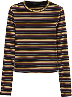 Women's Casual Striped Ribbed Tee Knit Crop Top