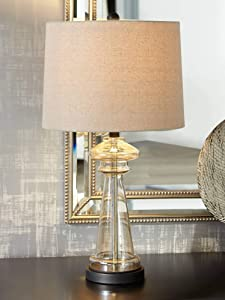 Dalia Modern Contemporary Table Lamp Clear Champagne Gold Glass Black Taupe Fabric Drum Shade Decor for Living Room Bedroom House Bedside Nightstand Home Office Entryway Family - 360 Lighting