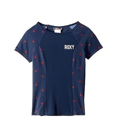 Roxy Kids Chasing Love Short Sleeve Rashguard (Big Kids) (Dress Blues Palmito) Girl