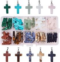 Pandahall Elite 50 PCS 10-Color Stone Cross Gemstone Pendants for Necklace Jewelry Making
