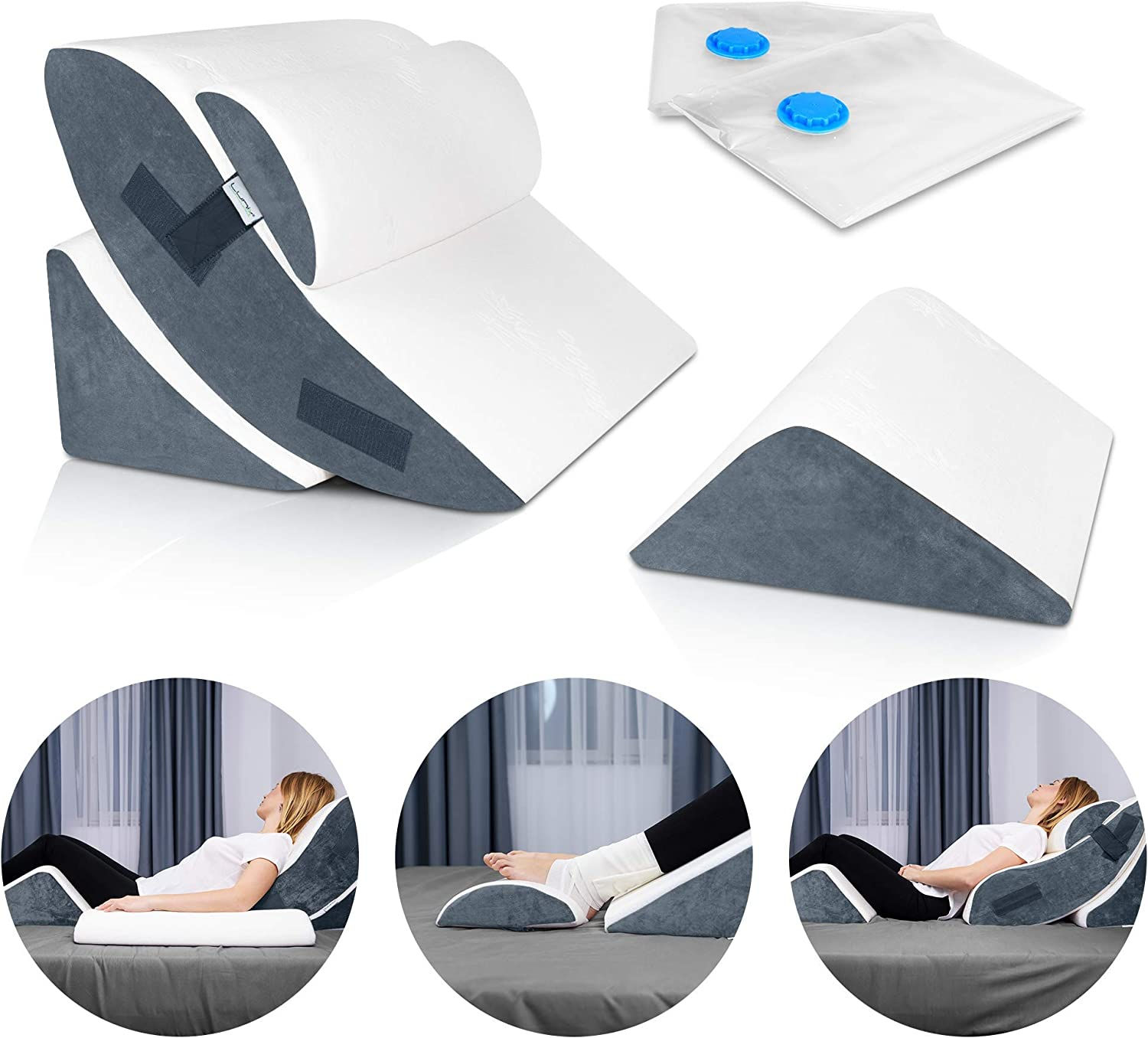 Lunix LX5 4pcs Orthopedic Bed Wedge Pillow Set, Post Surgery Memory Foam for Back, Neck and Leg Pain Relief. Sitting Pillow, Comfortable and Adjustable Pillows Acid Reflux and GERD for Sleeping Navy: Kitchen & Dining