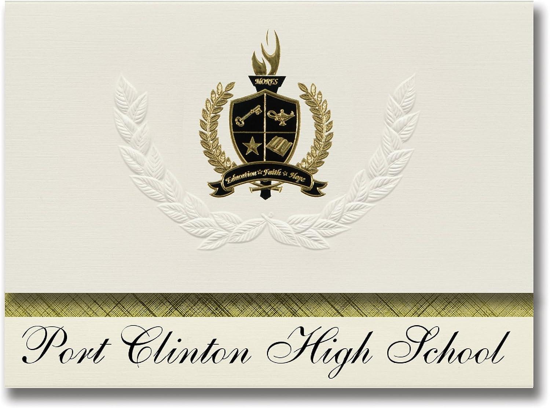Signature Ankündigungen Port Clinton High School (Port Clinton, oh) Graduation Ankündigungen, Presidential Stil, Elite Paket 25 Stück mit Gold & Schwarz Metallic Folie Dichtung B078VDML7N   | Rich-pünktliche Lieferung