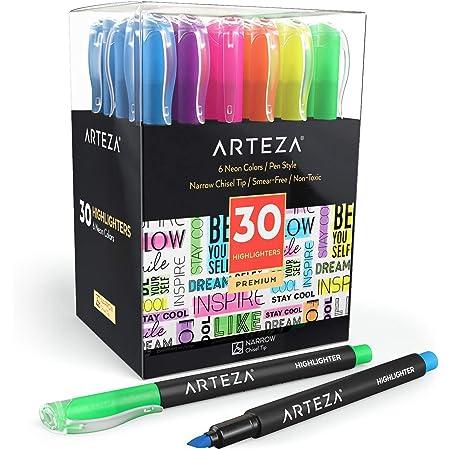 Arteza Lot de 30 surligneurs à pointe biseautée, lot de marqueurs 6 couleurs fluo assorties, fabriqué avec de l'encre non toxique, pour mettre en évidence la maison, l'école ou le bureau