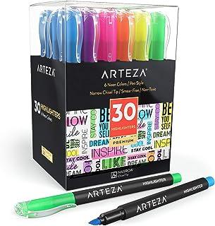 Arteza Lot de 30 surligneurs à pointe biseautée, lot de marqueurs 6 couleurs fluo assorties, fabriqué avec de l'encre non ...