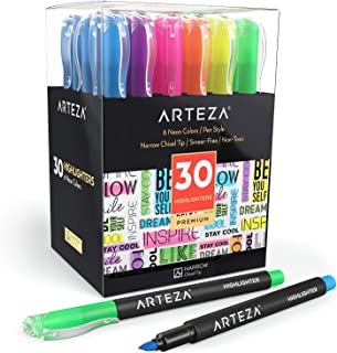 ARTEZA Highlighters Set of 30, Narrow Chisel Tip, Bulk Pack of Markers in 6 Assorted Neon Colors, Made with Non-Toxic Ink, for Highlighting in the Home, School, or Office