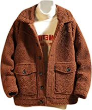 Sixpi Men's Winter Solid Color Button Casual Blouse Fleece Tops Coat