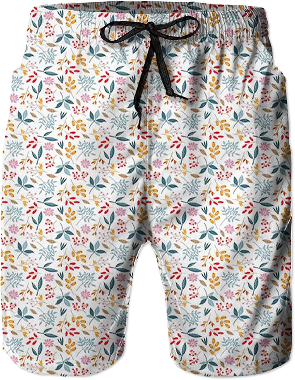 Men's Long Swim Trunks with Mesh Lining Beach Bathing Suits Board Shorts Swimwear with Pockets and No Mesh,Hand Drawn Foliage of The Autumn SeasonColorful Berry Branches and Flowers L