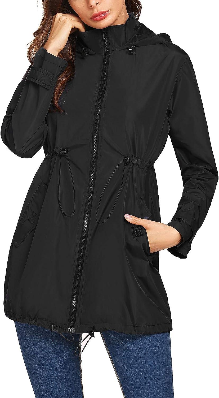 Mofavor Womens Waterproof Windbreaker Raincoat Outdoor Breathable Rain Jacket with Hooded