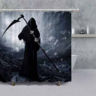 VANCAR The Dead Grim Reaper Bathroom Shower Curtain for Halloween Decoration Gothic Decor Scary Skull Ghost with Reaper's Scythe Halloween Night Background Waterproof Polyester Fabric Bath Curtain Set