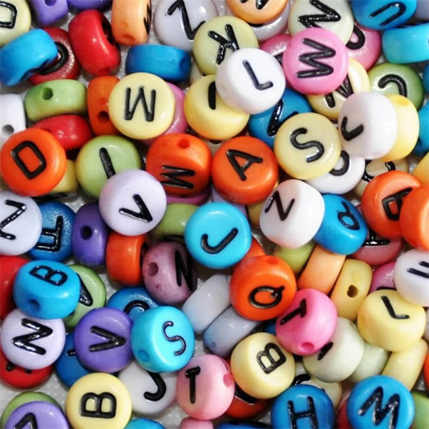 AKOAK Pack of 200 Mixed 4 x 7 mm Round Colorized Acrylic Plastic Beads with Black Letters/ Alphabet Letter